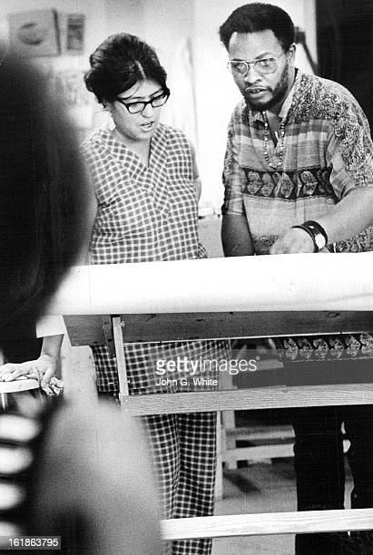 AUG 1971 AUG 7 1971 AUG 18 1971 Student Gets Instructor's Help Bob Ragland offers some drawing hints to Mrs Shirley Arellano 3040 Holly St at Model...