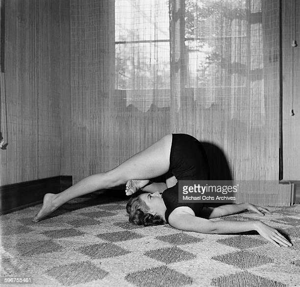 A student gets into a yoga pose at Indra Devi Yoga Studio in HollywoodCalifornia