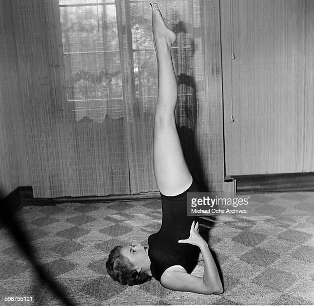 A student gets into a yoga position at Indra Devi Yoga Studio in HollywoodCalifornia