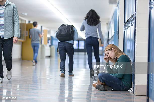 Student getting bullied in school hallway