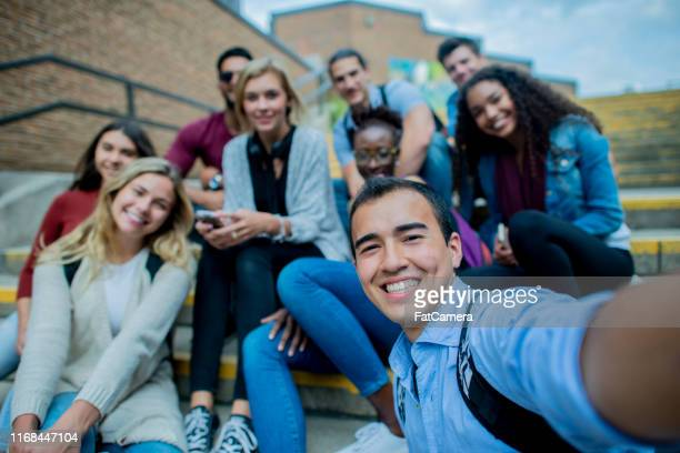 student group selfie! - community college stock pictures, royalty-free photos & images