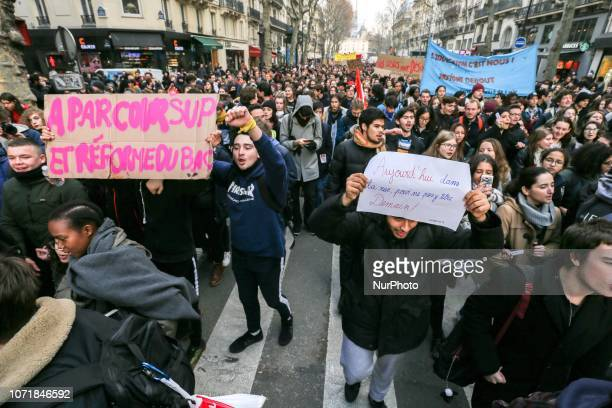 Student holds placard reading « Today in the street for not being on the street tomorrow » during a demonstration at Place SaintMichel Paris France...