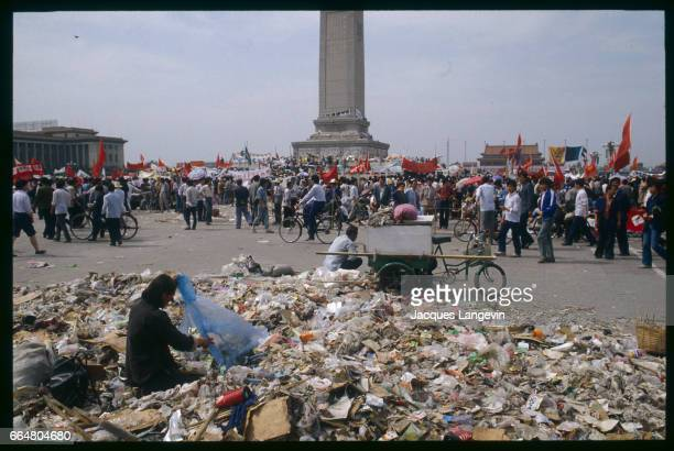 Student hunger strikers protest among mounds of litter in Beijing's Tiananmen Square In the spring of 1989 students and citizens held massive...