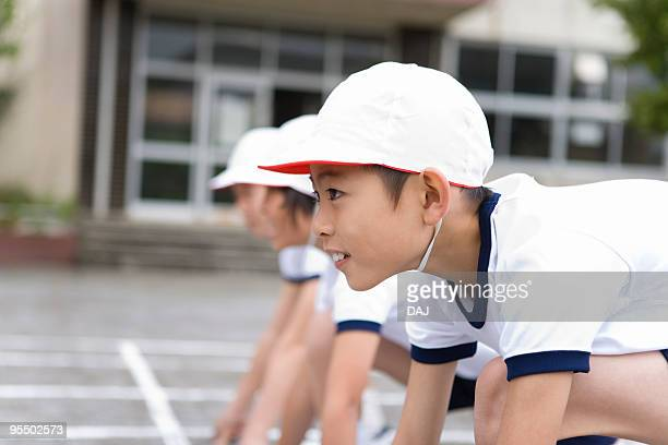 Student in starting line, Focus on Foreground