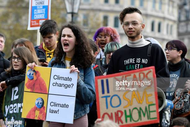 A student is seen holding a placard reading 11 years to save our home at the Youth climate strike in London Students gathered in Parliament Square...