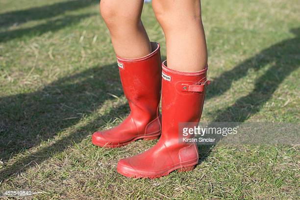 Student Jade Green wearing Hunter boots at Lovebox 2014 on July 18 2014 in London England