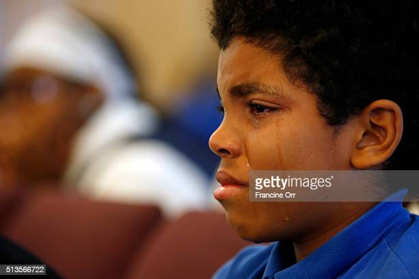 Student Jakeem Gadson crying during a ceremony at Children of Promise Preparatory Academy in Inglewood CA March 3 2016 The school was honoring their...