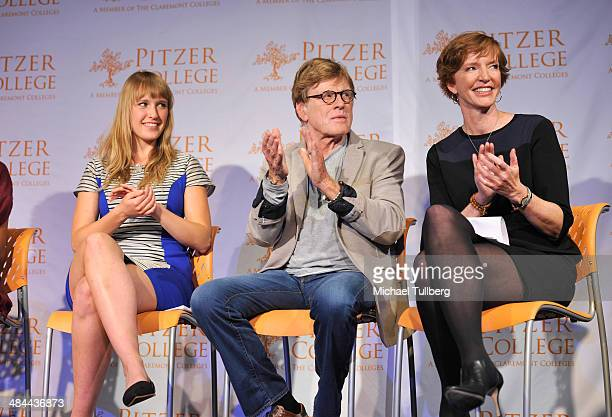 Student Jess GradyBenson actor and Pitzer College Trustee Robert Redford and Pitzer College President Laura Skandera Trombley appear at a press...