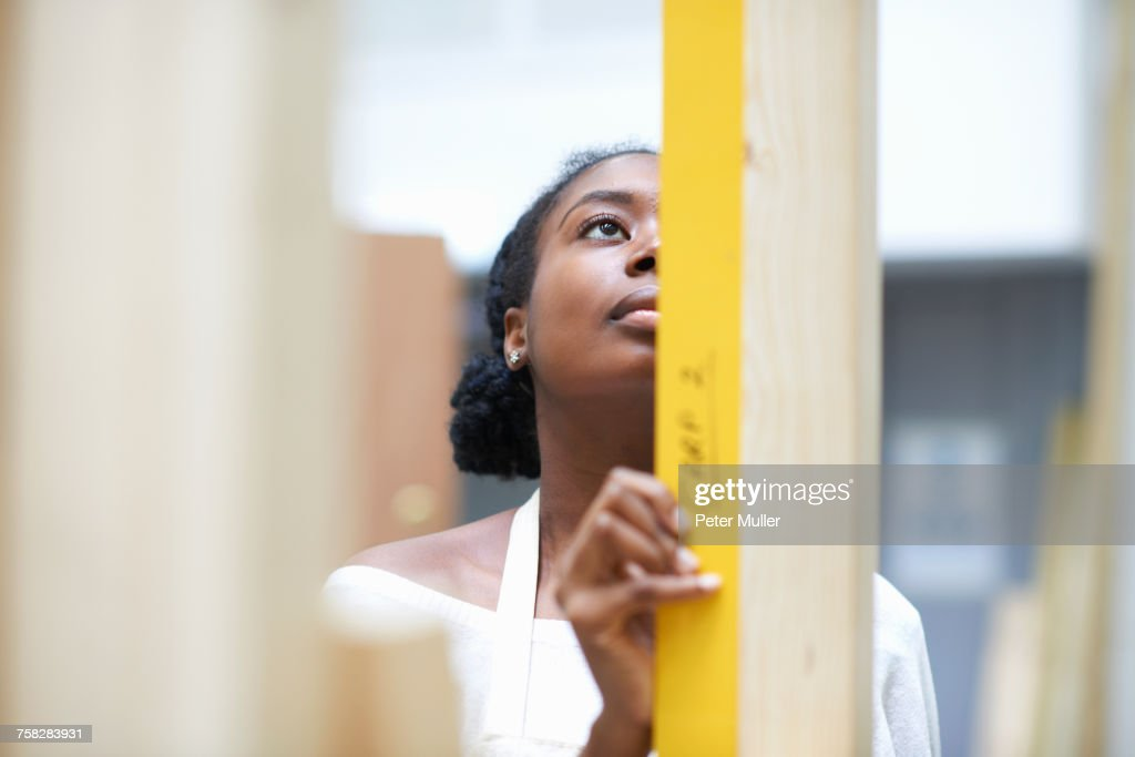 Student learning how to do building work : Stock Photo