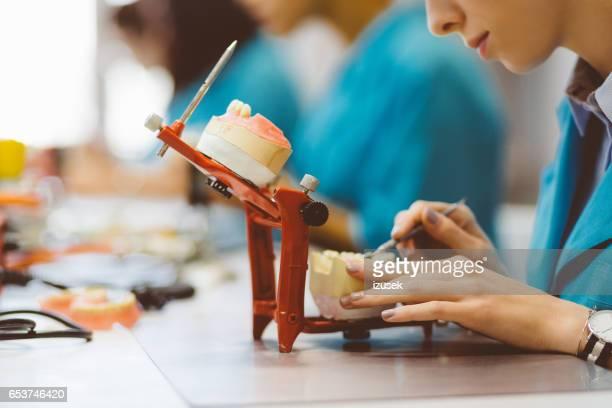 Student learning prosthetic dentistry