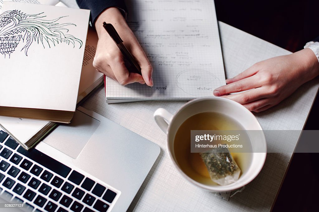 Student Learning With Good Cup Of Tea : Stock-Foto