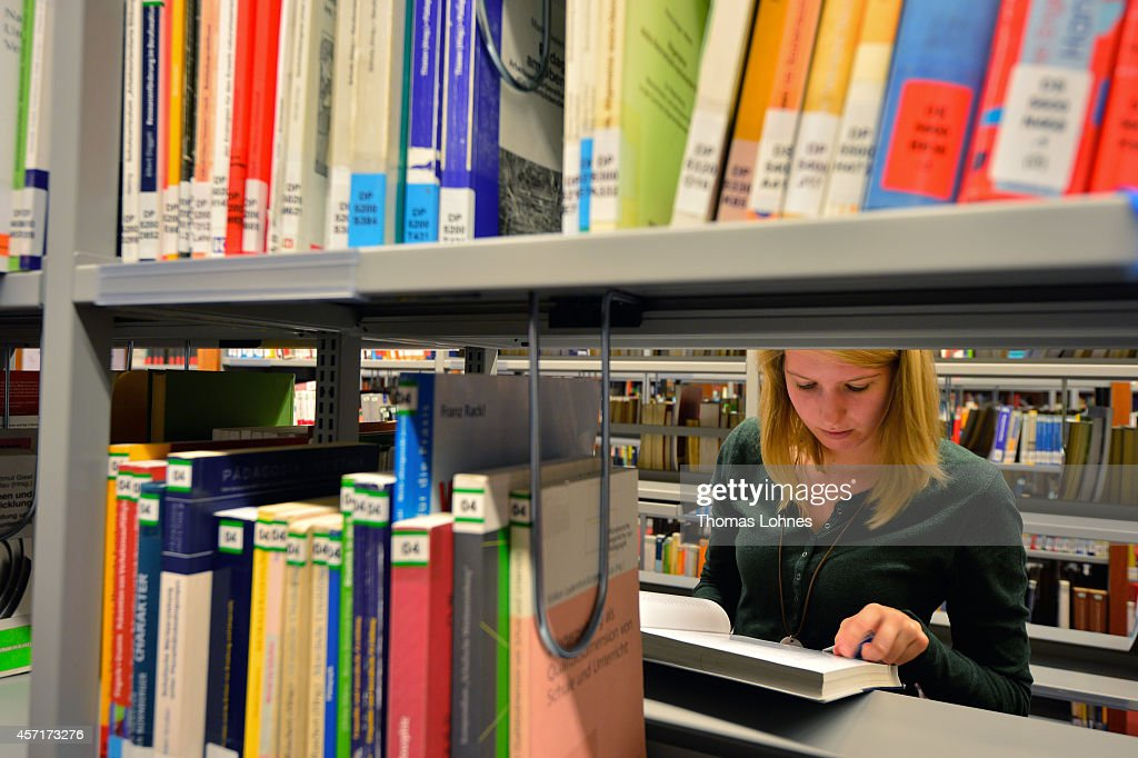 A student learns in the library of the Johann Wolfang Goethe-University on October 13, 2014 in Frankfurt am Main, Germany. The Johann Wolfgang Goethe-University celebrates its 100th anniversary with a ceremony on 18 October.