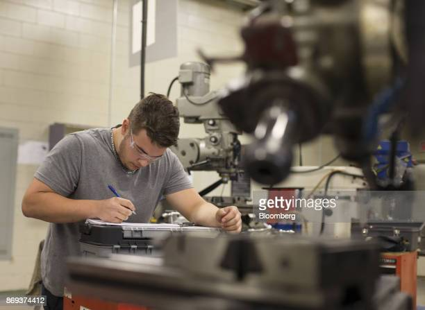 A student learns precision metalwork on a milling machine at the vocational training centre in Montmagny Quebec Canada on Tuesday Oct 31 2017 In this...