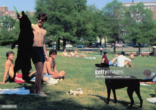 "Student Life Students sunbathing on ""The Beach"" 1985"