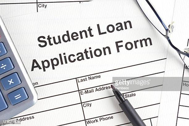 student loan application form - college application stock photos and pictures