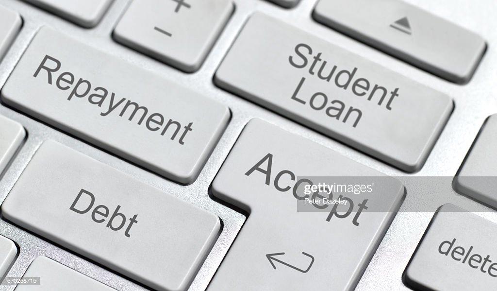 Student loan computer keyboard : Stock Photo