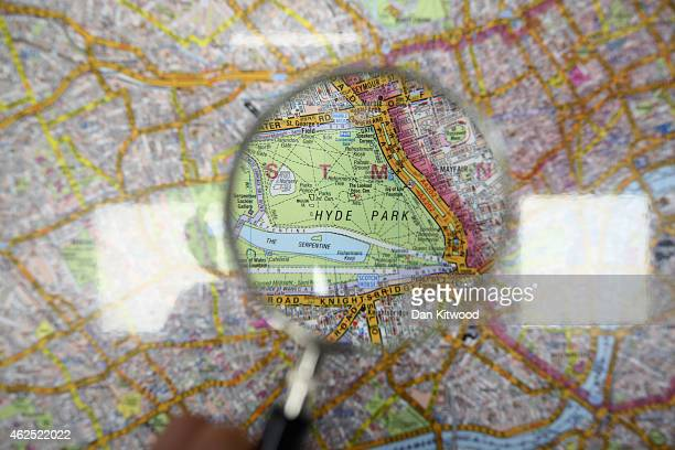 A student looks at a map during a 'Knowledge' lesson at the West London Knowledge School on December 03 2014 in London England London's Black Cab...