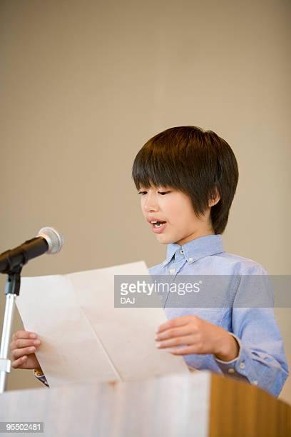 Student making a speech