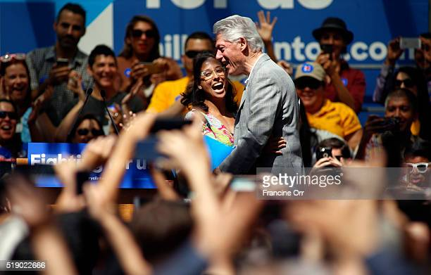 Student Mary Bessell introduces former President Bill Clinton to the crowd at the Hillary Clinton campaign event at the Los Angeles Trade Technical...
