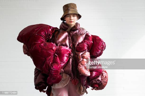 Student models display clothes ahead of the Fashion Design and Textile Design catwalk show at Glasgow School of Art on August 23, 2019 in Glasgow,...