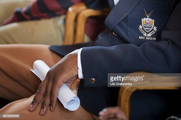 Student of the University of the Witwatersrand Johannesburg with the emblem of the alumni from 2012/13 on November 20 2014 in Johannesburg South...