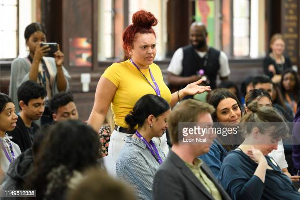 Student Olivia Lewis, aged 17, asks Graham Shore of the Brexit Party a question at Sir George Monoux College in Walthamstow on May 16, 2019 in...