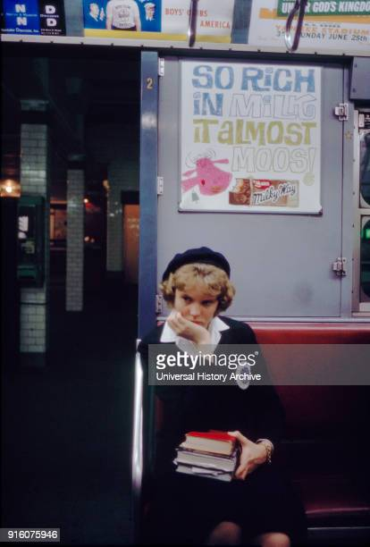 Student on Subway New York City New York USA July 1961