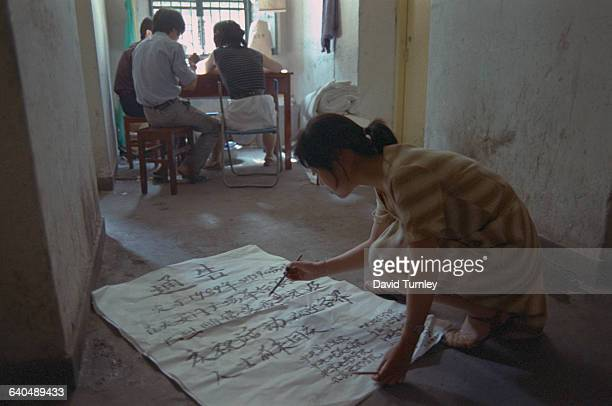 Student Painting Sign for Tiananmen Square Demonstration
