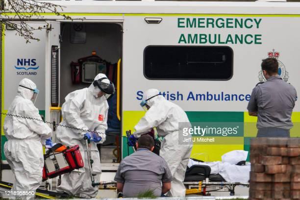 Student paramedics receive training to deal with coronavirus patients at the Louisa Jordan hospital on April 15 2020 in GlasgowScotlandThe...