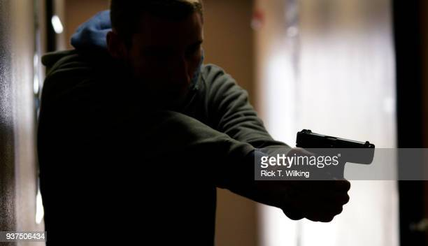 A student participates in the Tac*One Consulting 'Lone Wolf' civilian active shooter response course for concealed weapons permit holders on March 24...