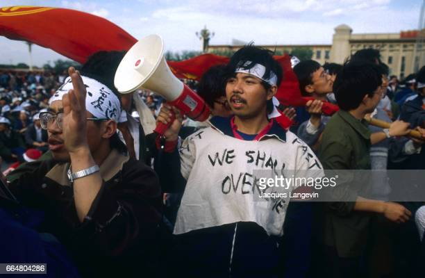 A student participating in the Tiananmen Square hunger strike wears a shirt that reads We shall overcome In the spring of 1989 students and citizens...