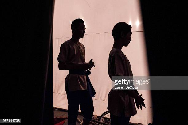 Student performance artists wait backstage before a cabaret performance at Phare Ponleu Selpak on May 28 2018 in Battambang Cambodia Phare Ponleu...