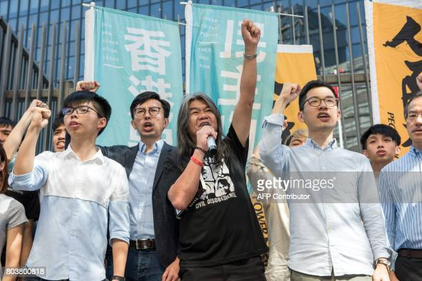 Student protest leader Joshua Wong Hong Kong prodemocracy party League of Social Democrats chairman Avery Ng prodemocracy lawmaker Leung Kwokhung...
