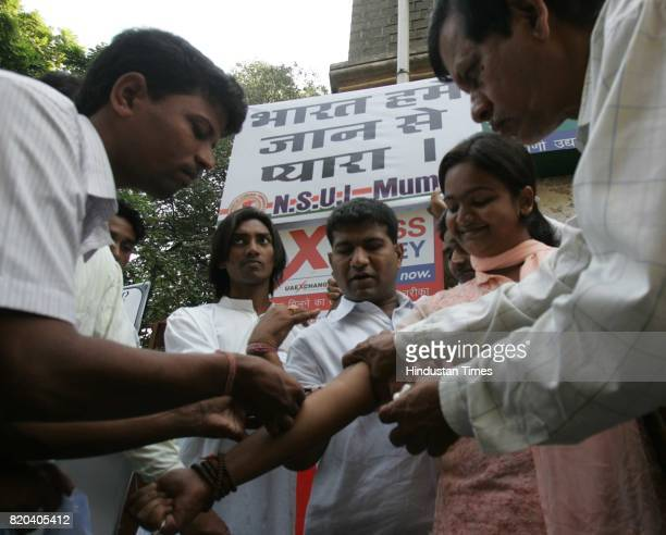 NSUI student protested by collecting blood and sending it to prime Minister of Pakistan to stop this cold blooded war at CAMA Hospital in Mumbai on...