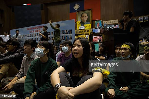 Student protesters continue to occupy the legislature, which has now been going on for over a week on March 24, 2014 in Taipei, Taiwan. Clashes...