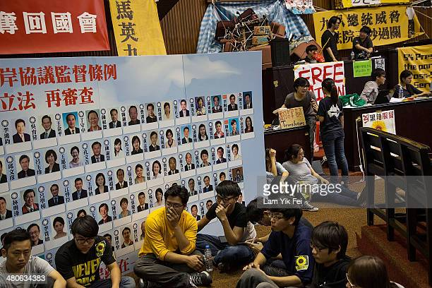Student protesters continue to occupy the legislature, which has now been going on for over a week on March 26, 2014 in Taipei, Taiwan. Clashes...
