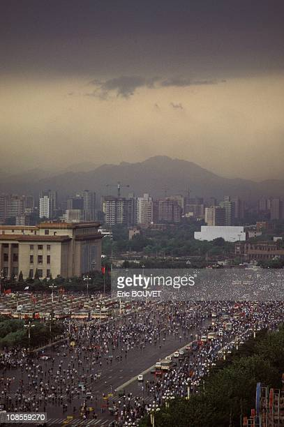 Student protesters demonstrate in Beijing's Tianamen Square in Beijing China on May 25th 1989