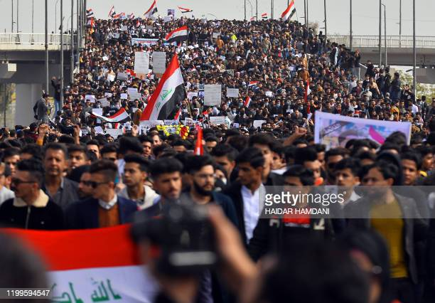 Student protesters march during an antigovernment demonstration at Sadrin Square in the central Iraqi holy shrine city of Najaf on February 9 2020