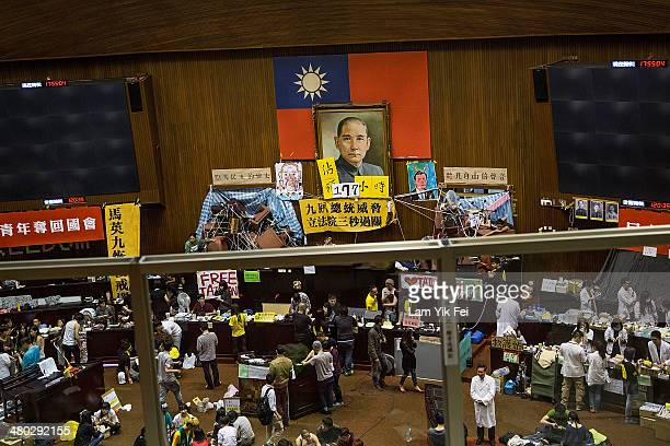 Student protesters occupy the legislature the day after the clash with riot police at the Executive Yuan on March 24, 2014 in Taipei, Taiwan. Clashes...
