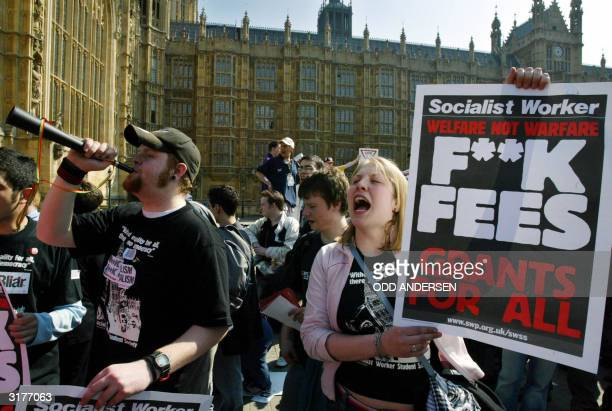 Student protestors demonstrate against topup fees outside the House of Commons in London 31 March 2004 The British parliament will vote on the...