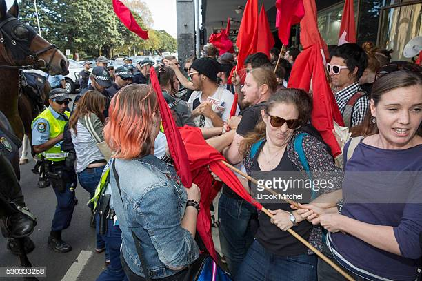 Student protests against funding cuts to higher education turn violent outside Sydney University on May 11, 2016 in Sydney, Australia. The protest...