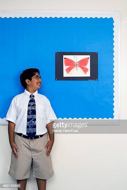 student proud of drawing from art class - butterfly pencil drawings stock pictures, royalty-free photos & images