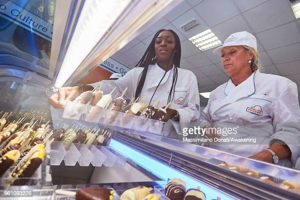 Student puts in the fridge his gelato sticks prepared during the practical lesson of a basic course at Carpigiani Gelato University on May 21 2018 in...
