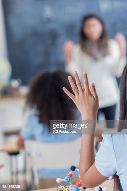 Student raises hand during science class