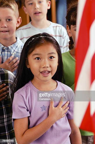 Student reciting pledge of allegiance