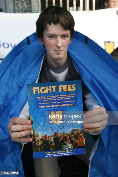 Student Robert Doyle joins members of the Union of students of Ireland as they stage an all night picket of Leinster House Dublin to protest against...