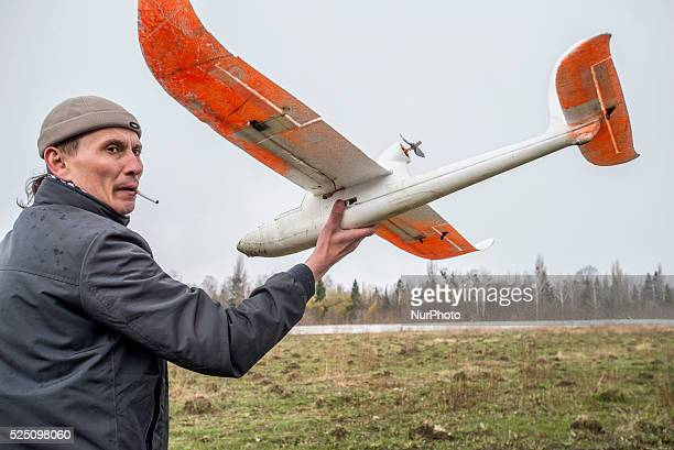 Student runs the drone used for training Ukrainian soldiers to control unmanned aerial vehicle in the field into the sky Training Center of Ukrainian...