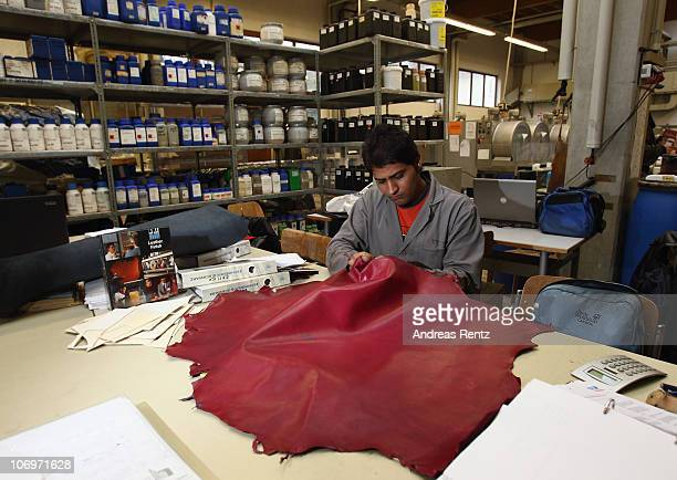 Student Saqib Nawaz controls a coloured tanned leather at the LGR tannery school on November 17 2010 in Reutlingen Germany The LGR school established...