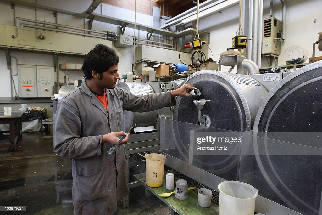 Student Saqib Nawaz fills a liquid in a drum for a colouration of tanned leather at the LGR (Lederinstitut Gerberschule Reutlingen) tannery school on November 17, 2010 in Reutlingen, Germany. The LGR school, established in 1954, is among the few tannery schools left worldwide in a profession that some see as dying out. Demand for LGR training, however, is high, and 40% of LGR students come from abroad. The school has invested heavily into high-tech processes that allow precision engineering of leather products as leather products are rising annually by 10% worldwide. The LGR school is located in southwestern Germany in a region with a rich tradition in leather and textile manufacturing.