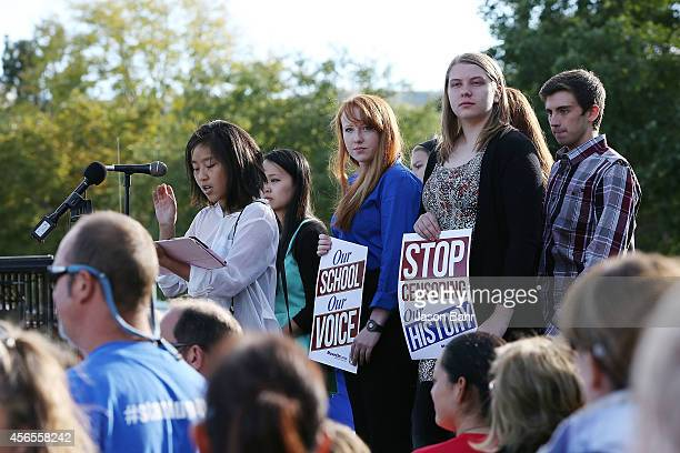 Student Sarina Phu speaks with other students during a protest at JEFFCO Public Schools on October 2 2014 in Golden Colorado
